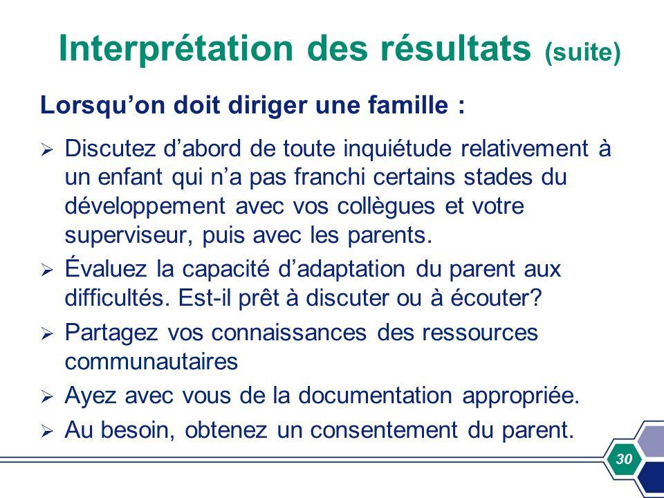 30 Interprétation des résultats (suite) Lorsquon doit diriger une famille : Discutez dabord de toute inquiétude relativement à un enfant qui na pas fr