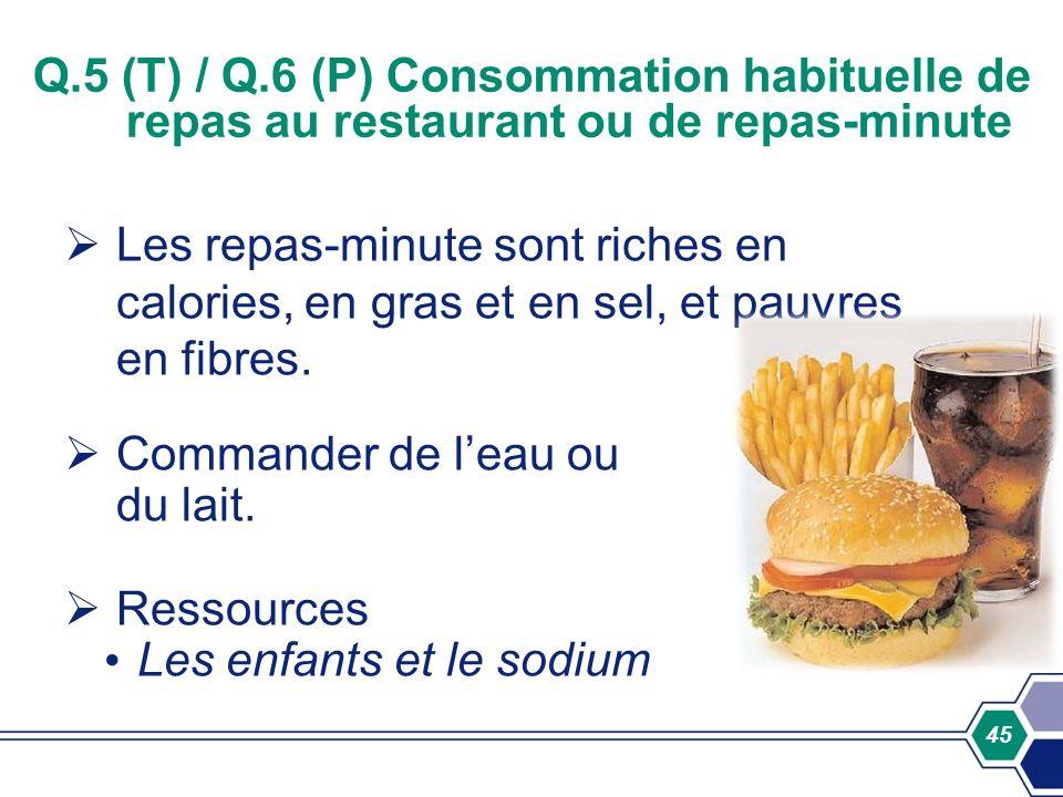 45 Q.5 (T) / Q.6 (P) Consommation habituelle de repas au restaurant ou de repas-minute Les repas-minute sont riches en calories, en gras et en sel, et