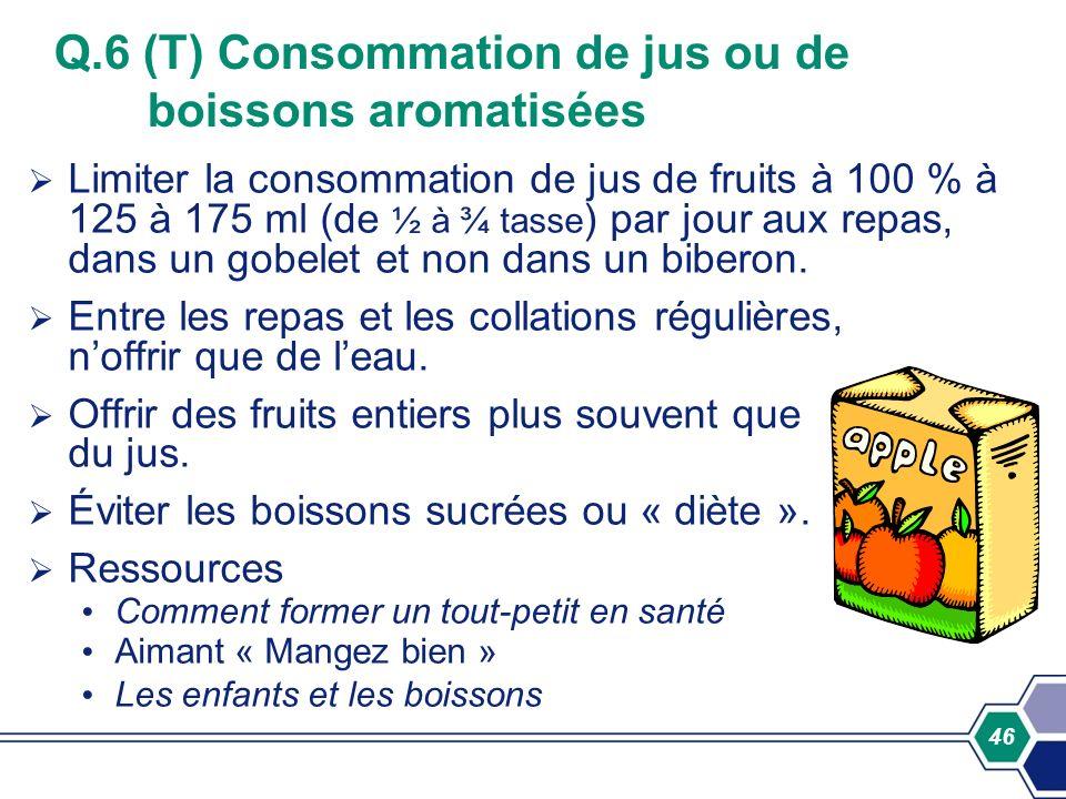 46 Q.6 (T) Consommation de jus ou de boissons aromatisées Limiter la consommation de jus de fruits à 100 % à 125 à 175 ml (de ½ à ¾ tasse ) par jour a