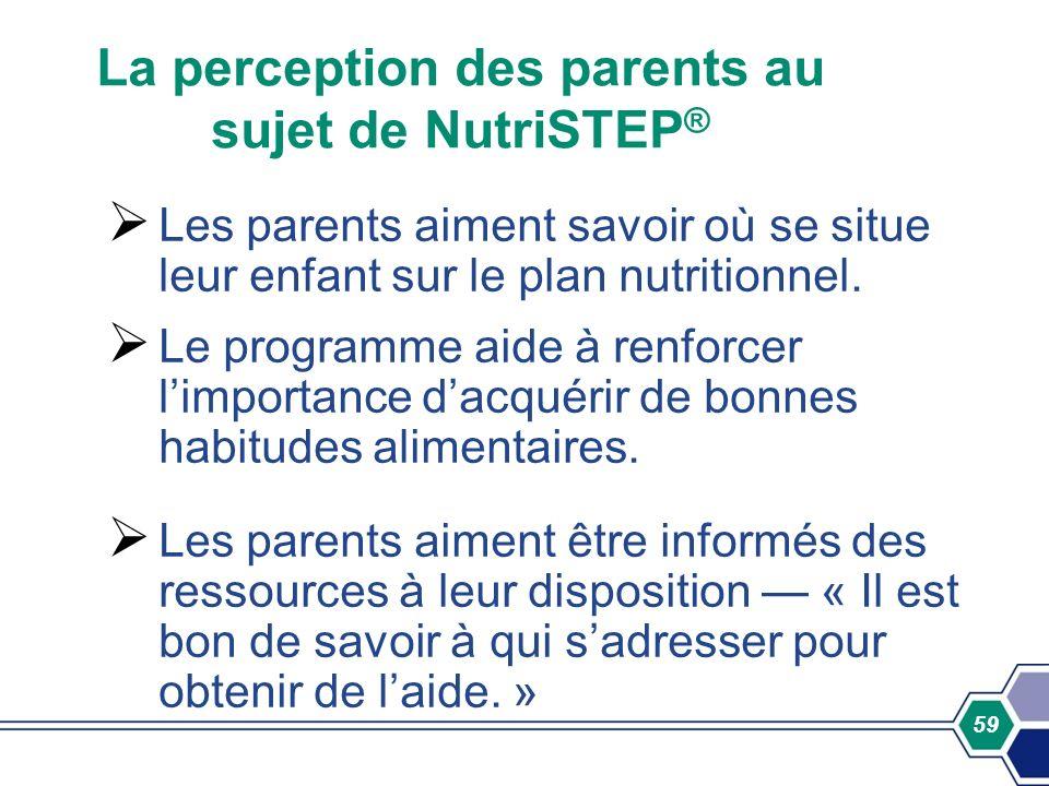 59 La perception des parents au sujet de NutriSTEP ® Les parents aiment savoir où se situe leur enfant sur le plan nutritionnel. Le programme aide à r
