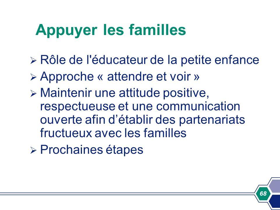 68 Appuyer les familles Rôle de l'éducateur de la petite enfance Approche « attendre et voir » Maintenir une attitude positive, respectueuse et une co