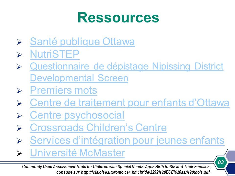 83 Ressources Santé publique Ottawa NutriSTEP Questionnaire de dépistage Nipissing District Developmental Screen Questionnaire de dépistage Nipissing