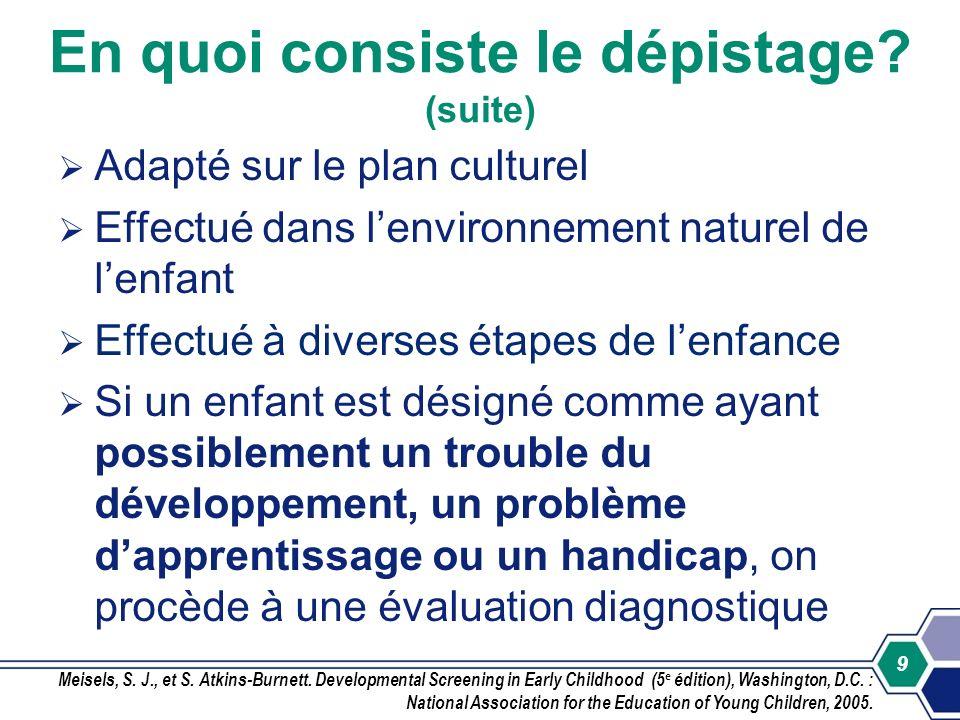 9 Adapté sur le plan culturel Effectué dans lenvironnement naturel de lenfant Effectué à diverses étapes de lenfance Si un enfant est désigné comme ay