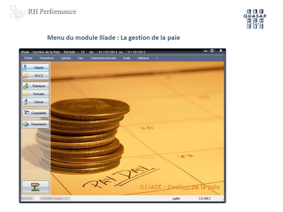 RH Performance Menu du module Iliade : La gestion de la paie