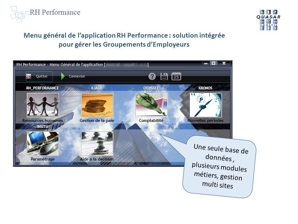 Menu général de lapplication RH Performance : solution intégrée pour gérer les Groupements dEmployeurs Une seule base de données, plusieurs modules métiers, gestion multi sites