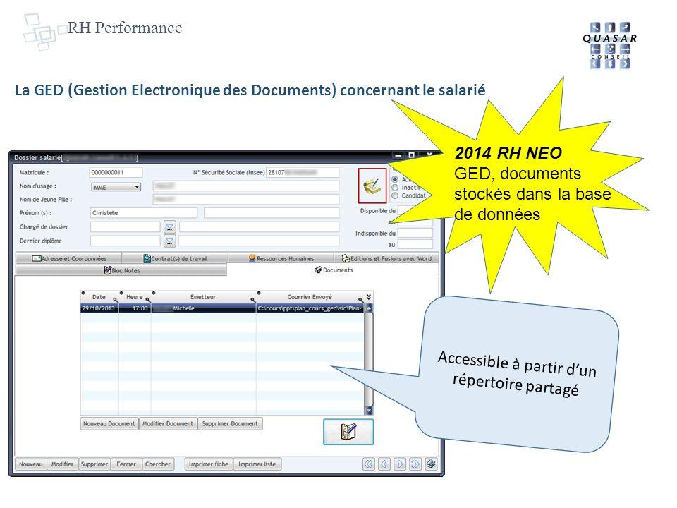 RH Performance La GED (Gestion Electronique des Documents) concernant le salarié Accessible à partir dun répertoire partagé 2014 RH NEO GED, documents stockés dans la base de données