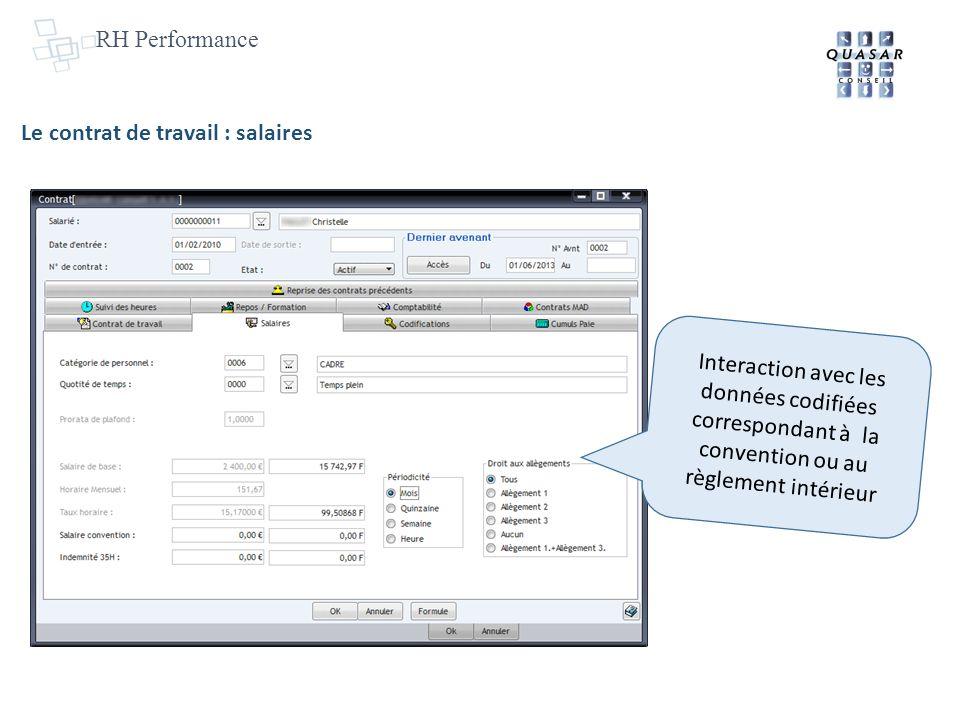RH Performance Le contrat de travail : salaires Interaction avec les données codifiées correspondant à la convention ou au règlement intérieur