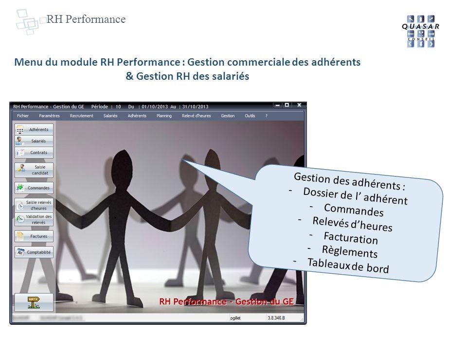 RH Performance Menu du module RH Performance : Gestion commerciale des adhérents & Gestion RH des salariés Gestion des adhérents : -Dossier de l adhérent -Commandes -Relevés dheures -Facturation -Règlements -Tableaux de bord