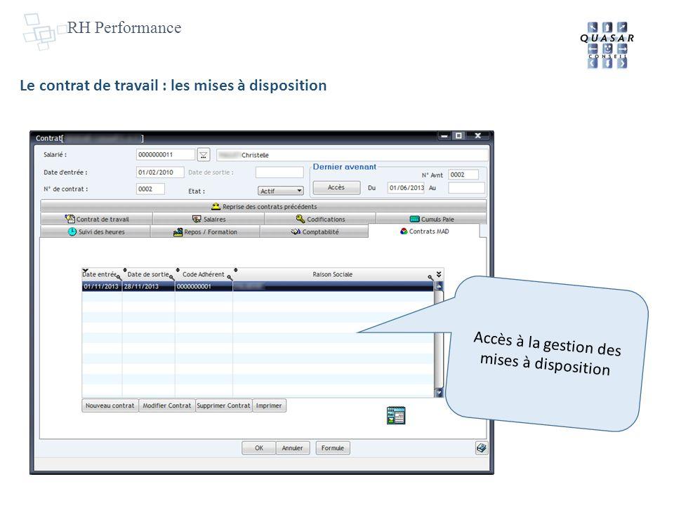 RH Performance Accès à la gestion des mises à disposition Le contrat de travail : les mises à disposition