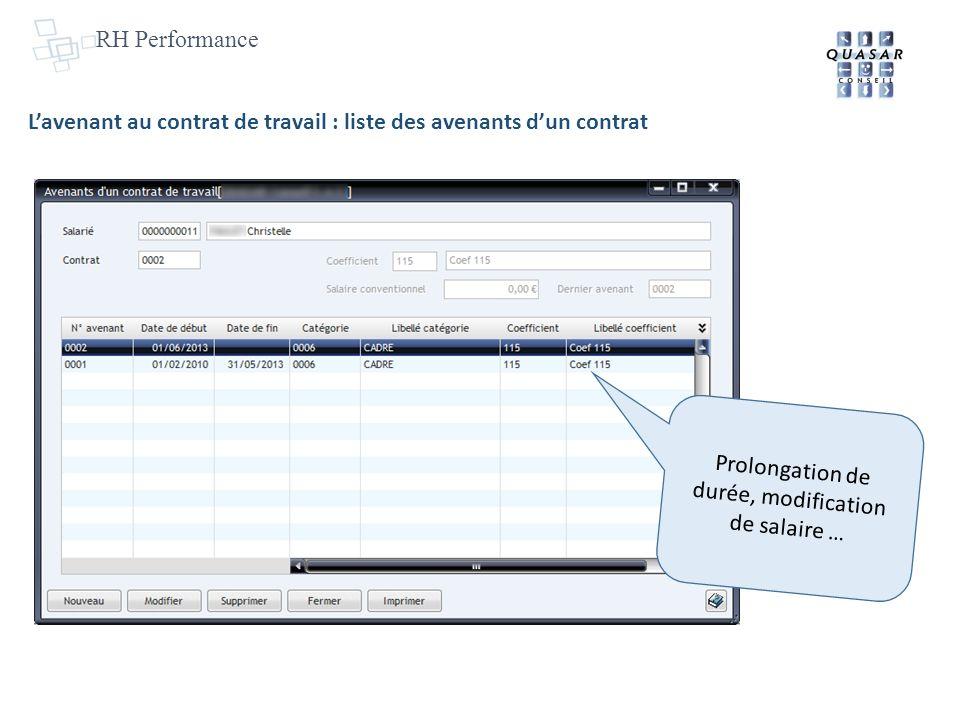 RH Performance Lavenant au contrat de travail : liste des avenants dun contrat Prolongation de durée, modification de salaire …