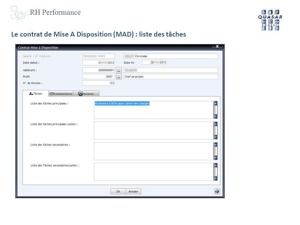 RH Performance Le contrat de Mise A Disposition (MAD) : liste des tâches