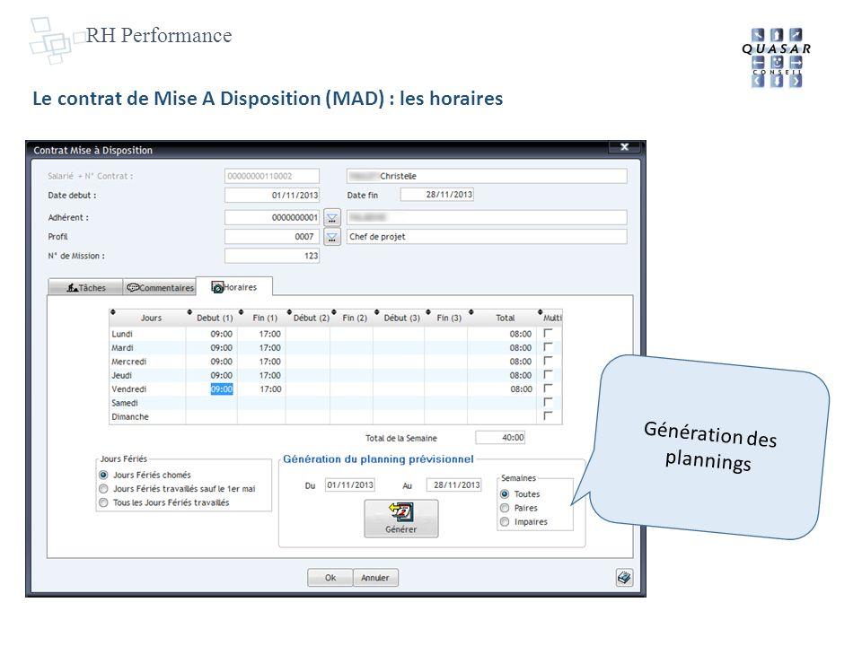 RH Performance Le contrat de Mise A Disposition (MAD) : les horaires Génération des plannings