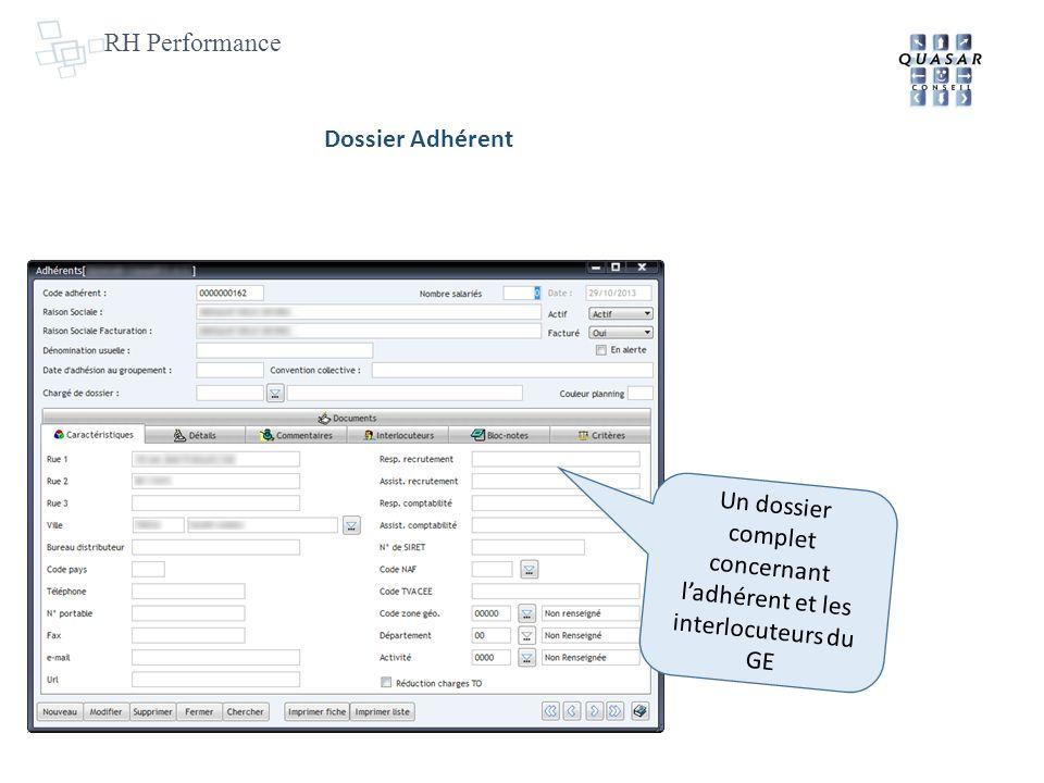 RH Performance Un dossier complet concernant ladhérent et les interlocuteurs du GE Dossier Adhérent