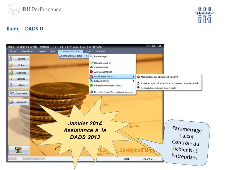 RH Performance Iliade – DADS-U Paramétrage Calcul Contrôle du fichier Net Entreprises Janvier 2014 Assistance à la DADS 2013