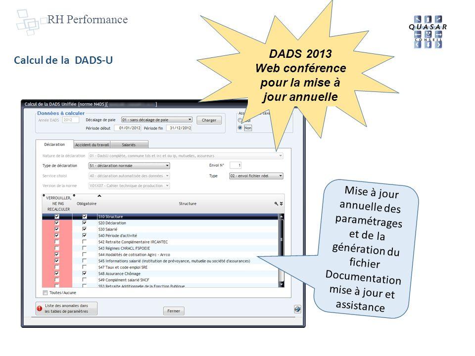 RH Performance Calcul de la DADS-U Mise à jour annuelle des paramétrages et de la génération du fichier Documentation mise à jour et assistance DADS 2013 Web conférence pour la mise à jour annuelle