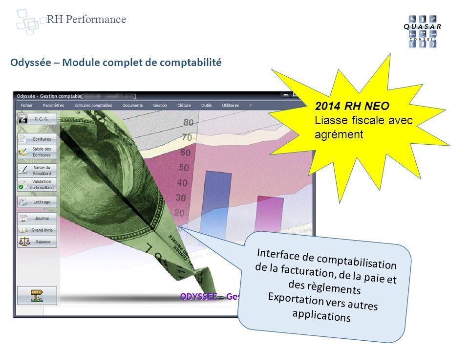 RH Performance Odyssée – Module complet de comptabilité Interface de comptabilisation de la facturation, de la paie et des règlements Exportation vers autres applications 2014 RH NEO Liasse fiscale avec agrément