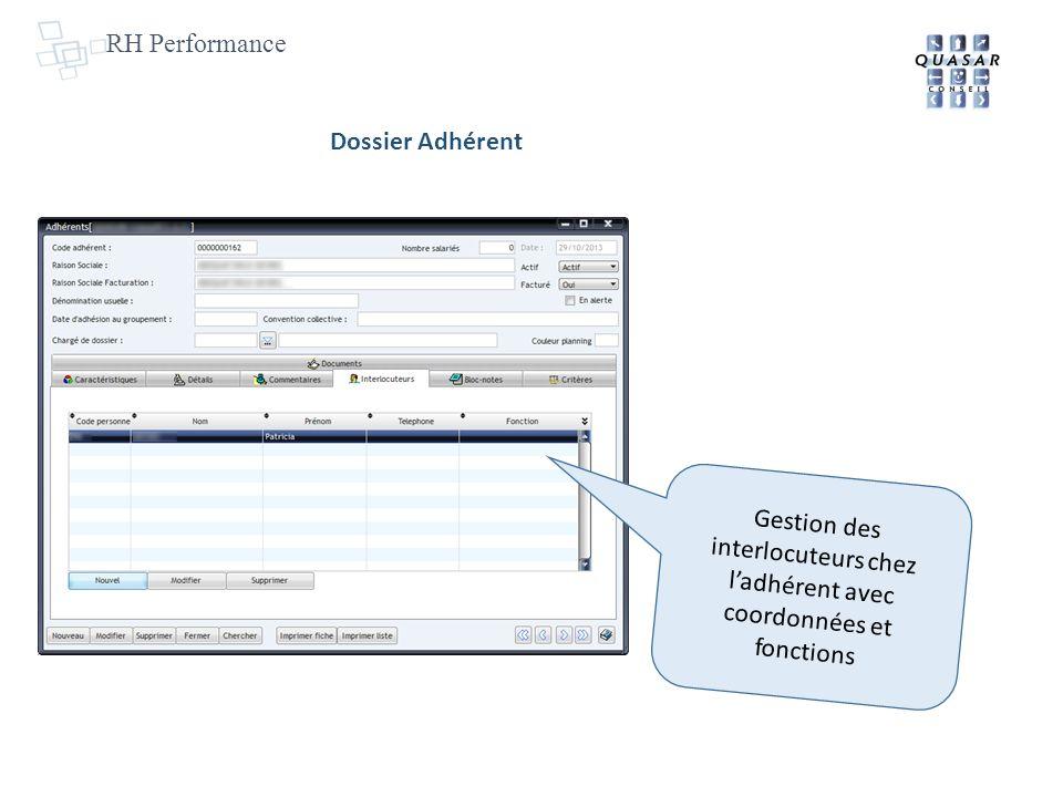 RH Performance Dossier Adhérent Gestion des interlocuteurs chez ladhérent avec coordonnées et fonctions