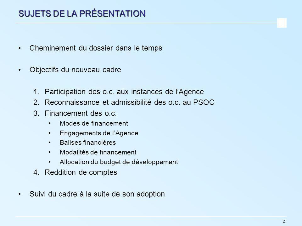 2 SUJETS DE LA PRÉSENTATION Cheminement du dossier dans le temps Objectifs du nouveau cadre 1.Participation des o.c.