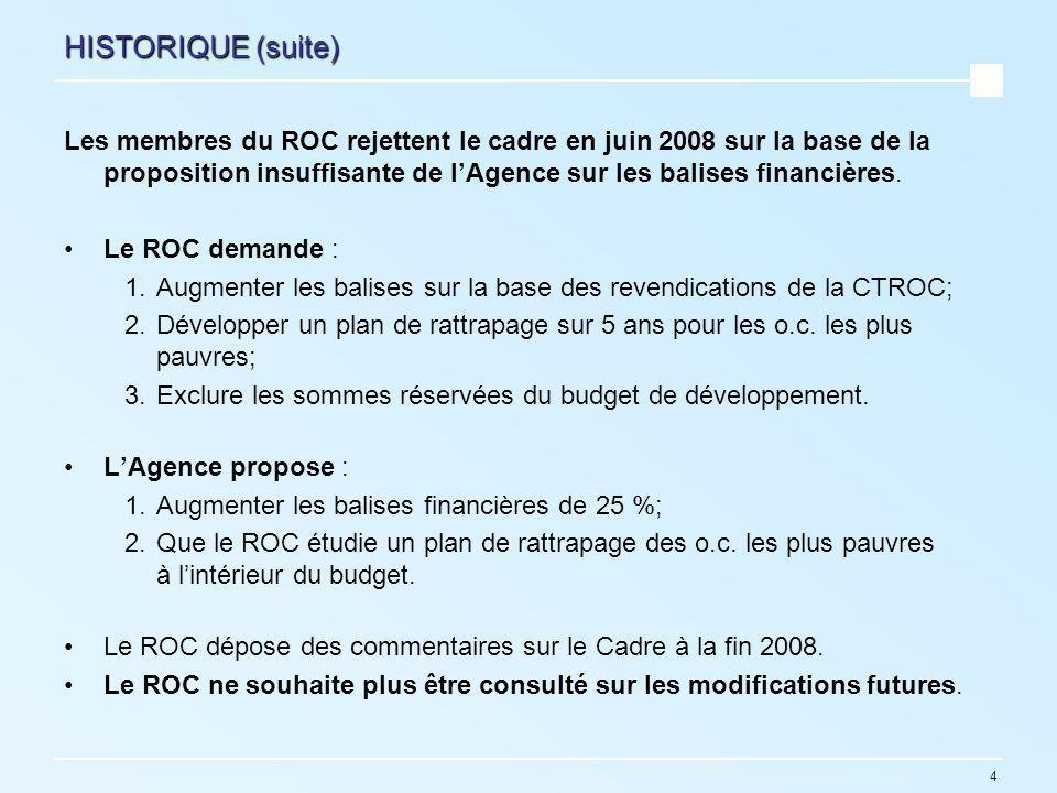 4 HISTORIQUE (suite) Les membres du ROC rejettent le cadre en juin 2008 sur la base de la proposition insuffisante de lAgence sur les balises financières.