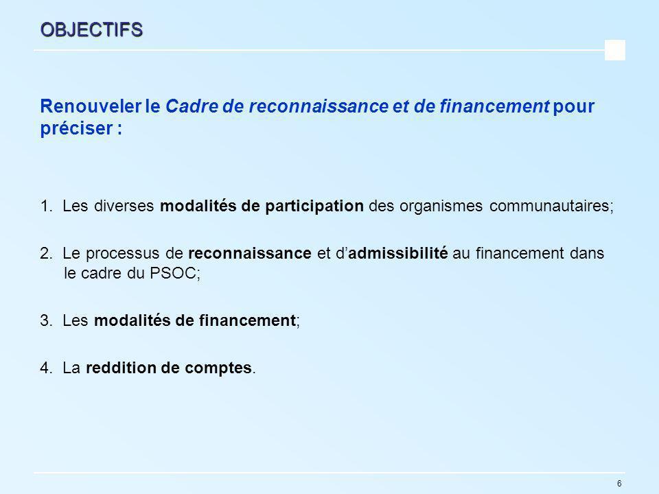 6 OBJECTIFS Renouveler le Cadre de reconnaissance et de financement pour préciser : 1.