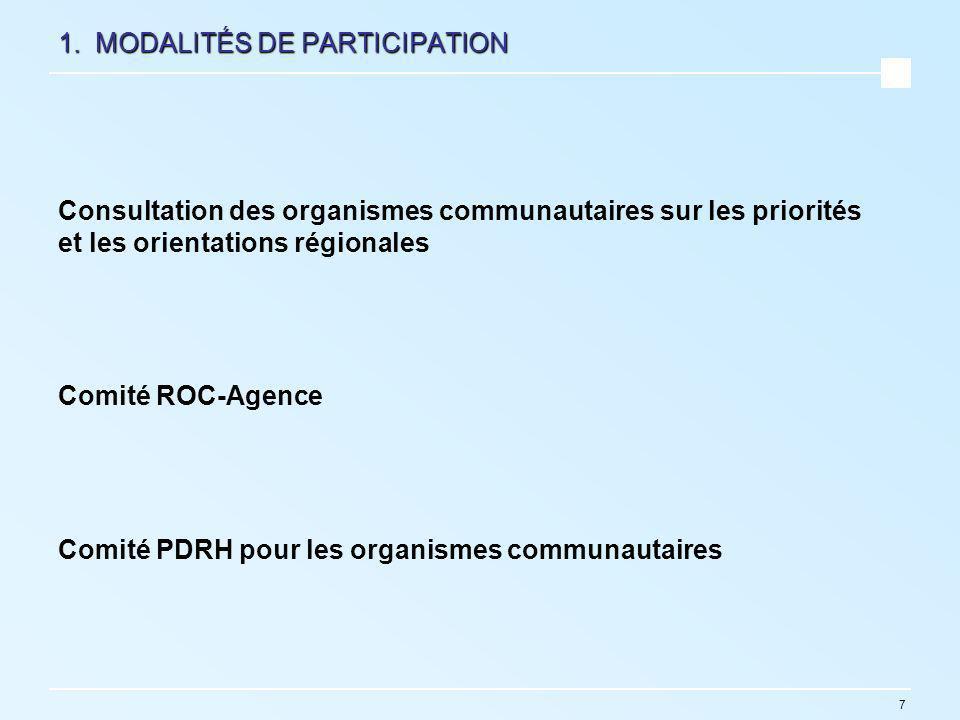 7 1. MODALITÉS DE PARTICIPATION Consultation des organismes communautaires sur les priorités et les orientations régionales Comité ROC-Agence Comité P