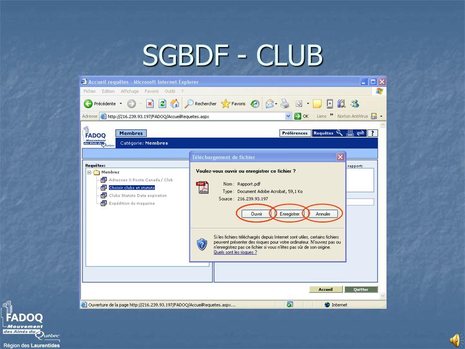 Nous vous souhaitons bon succès avec le module SGBDF-CLUB.