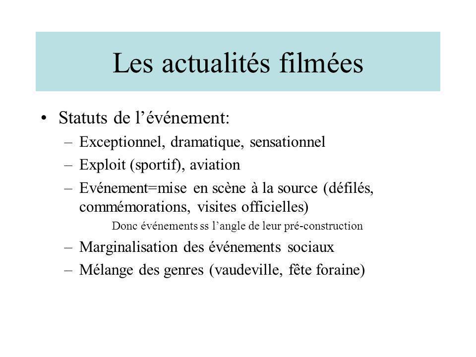 Les actualités filmées Statuts de lévénement: –Exceptionnel, dramatique, sensationnel –Exploit (sportif), aviation –Evénement=mise en scène à la sourc