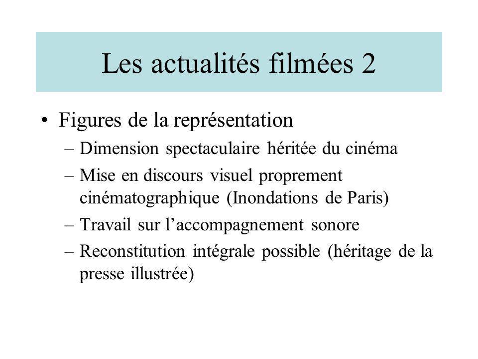 Les actualités filmées 2 Figures de la représentation –Dimension spectaculaire héritée du cinéma –Mise en discours visuel proprement cinématographique