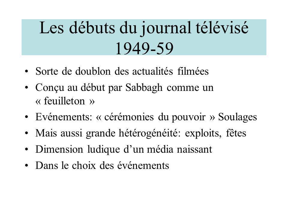 Les débuts du journal télévisé 1949-59 Sorte de doublon des actualités filmées Conçu au début par Sabbagh comme un « feuilleton » Evénements: « cérémo
