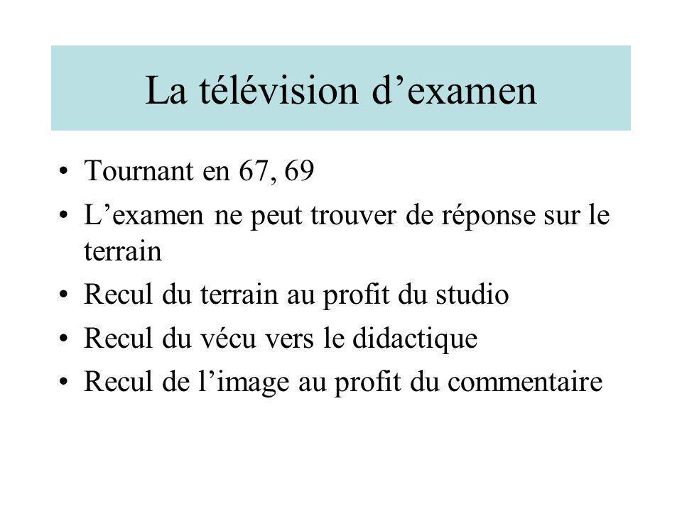 La télévision dexamen Tournant en 67, 69 Lexamen ne peut trouver de réponse sur le terrain Recul du terrain au profit du studio Recul du vécu vers le