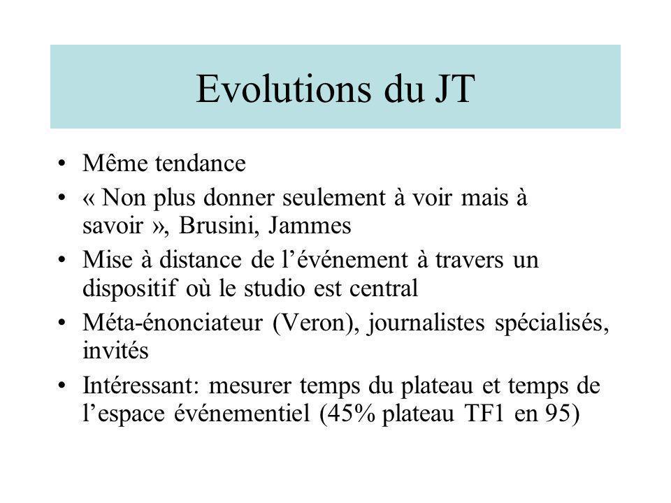 Evolutions du JT Même tendance « Non plus donner seulement à voir mais à savoir », Brusini, Jammes Mise à distance de lévénement à travers un disposit