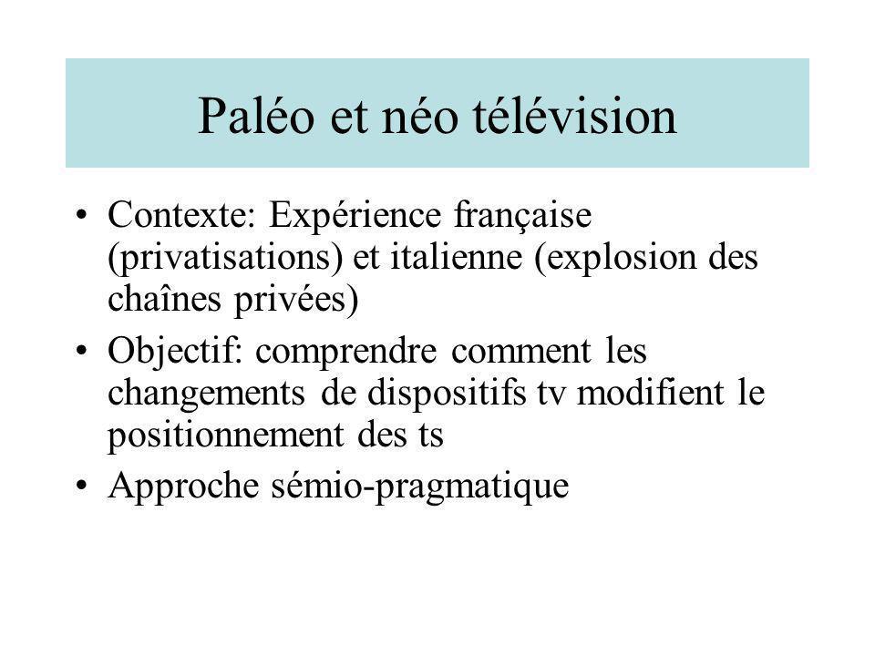 Paléo et néo télévision Contexte: Expérience française (privatisations) et italienne (explosion des chaînes privées) Objectif: comprendre comment les