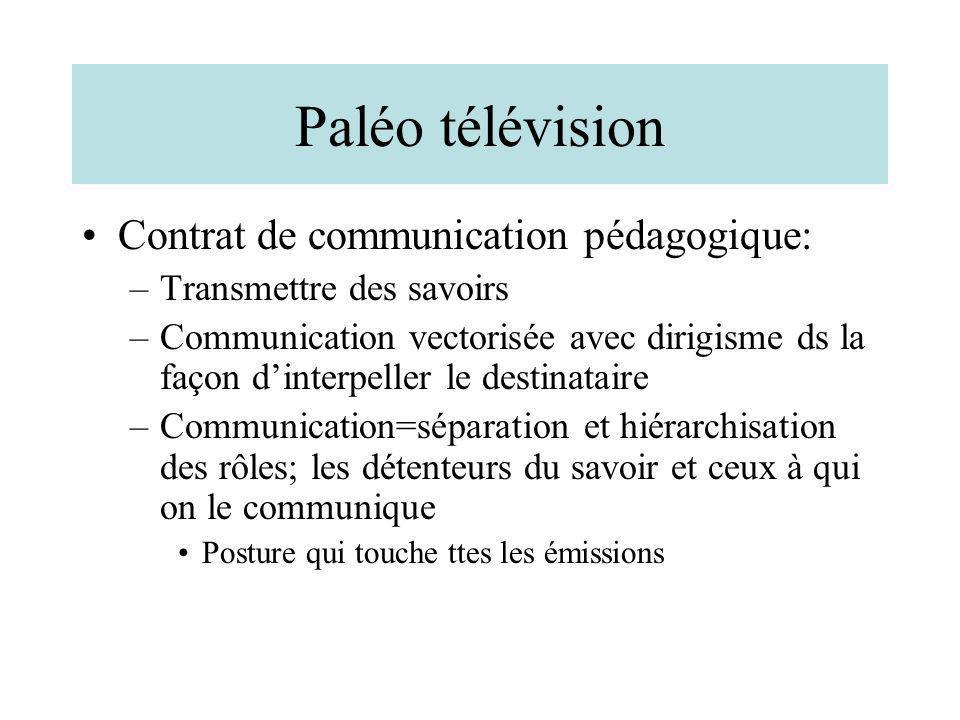 Paléo télévision Contrat de communication pédagogique: –Transmettre des savoirs –Communication vectorisée avec dirigisme ds la façon dinterpeller le d