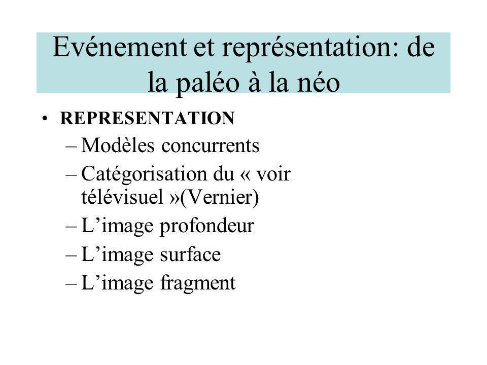 Evénement et représentation: de la paléo à la néo REPRESENTATION –Modèles concurrents –Catégorisation du « voir télévisuel »(Vernier) –Limage profonde