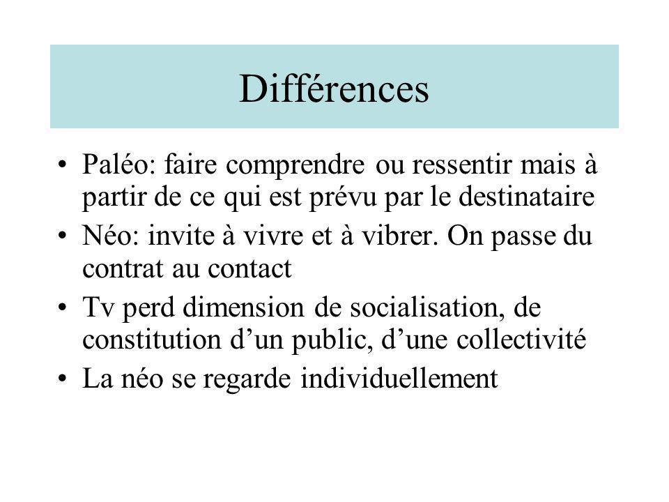 Différences Paléo: faire comprendre ou ressentir mais à partir de ce qui est prévu par le destinataire Néo: invite à vivre et à vibrer. On passe du co