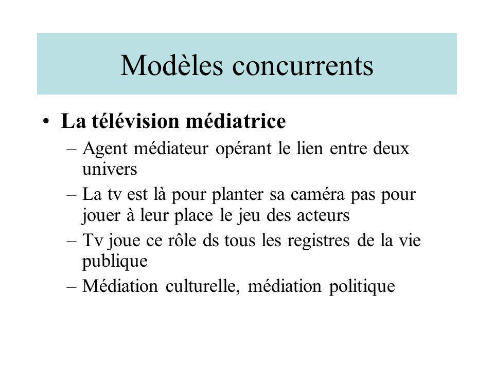 Modèles concurrents La télévision médiatrice –Agent médiateur opérant le lien entre deux univers –La tv est là pour planter sa caméra pas pour jouer à