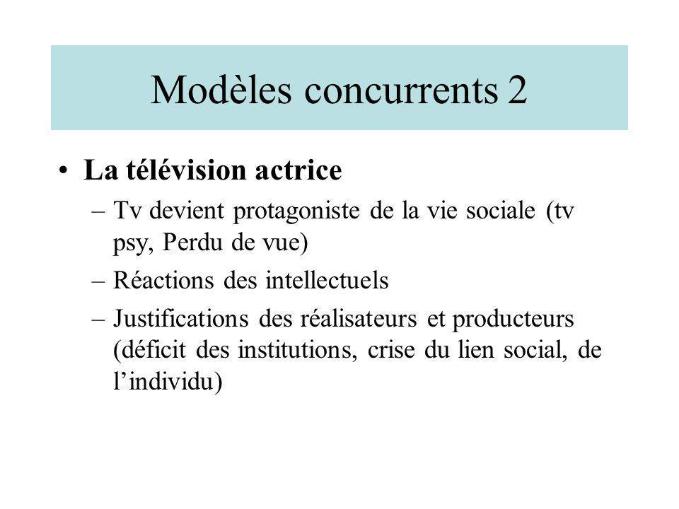 Modèles concurrents 2 La télévision actrice –Tv devient protagoniste de la vie sociale (tv psy, Perdu de vue) –Réactions des intellectuels –Justificat