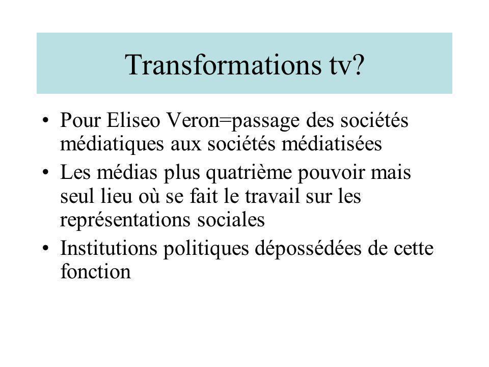 Transformations tv? Pour Eliseo Veron=passage des sociétés médiatiques aux sociétés médiatisées Les médias plus quatrième pouvoir mais seul lieu où se