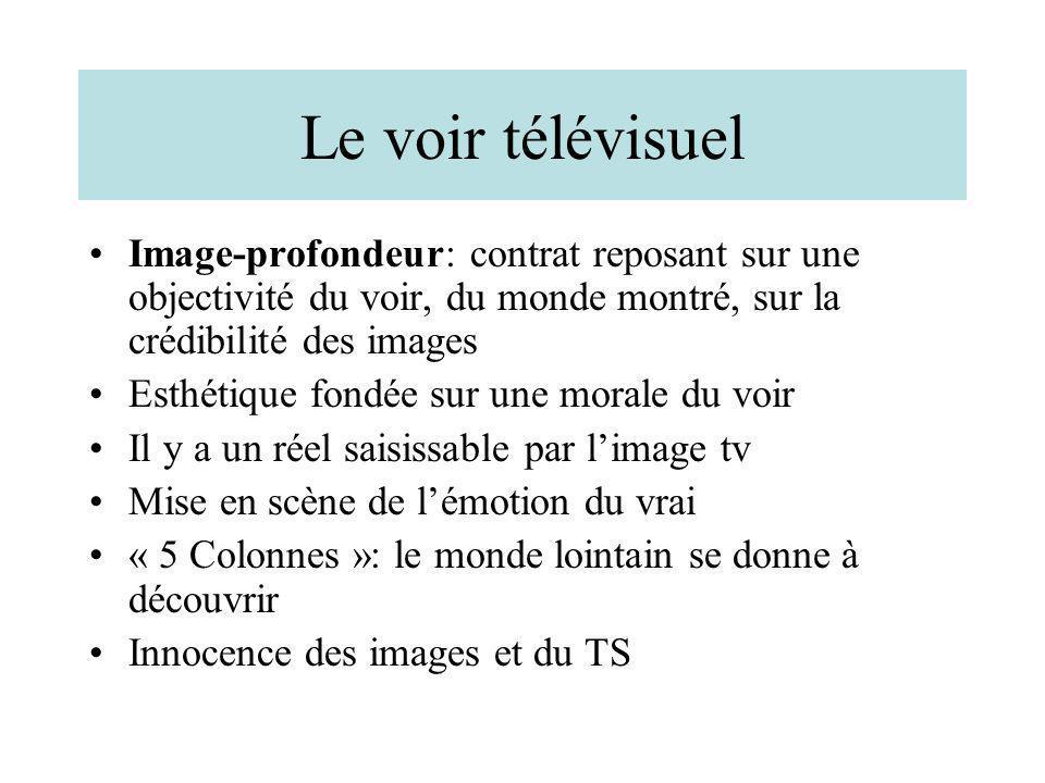 Le voir télévisuel Image-profondeur: contrat reposant sur une objectivité du voir, du monde montré, sur la crédibilité des images Esthétique fondée su
