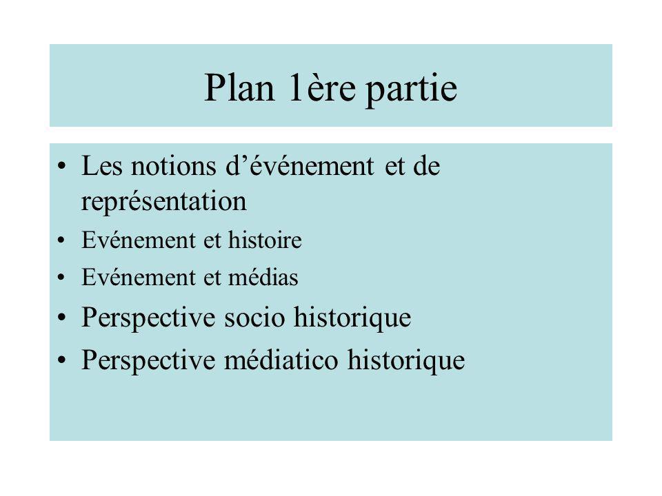 Plan 1ère partie Les notions dévénement et de représentation Evénement et histoire Evénement et médias Perspective socio historique Perspective médiat
