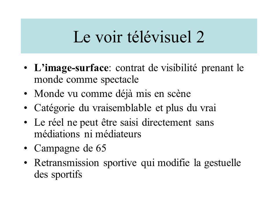 Le voir télévisuel 2 Limage-surface: contrat de visibilité prenant le monde comme spectacle Monde vu comme déjà mis en scène Catégorie du vraisemblabl