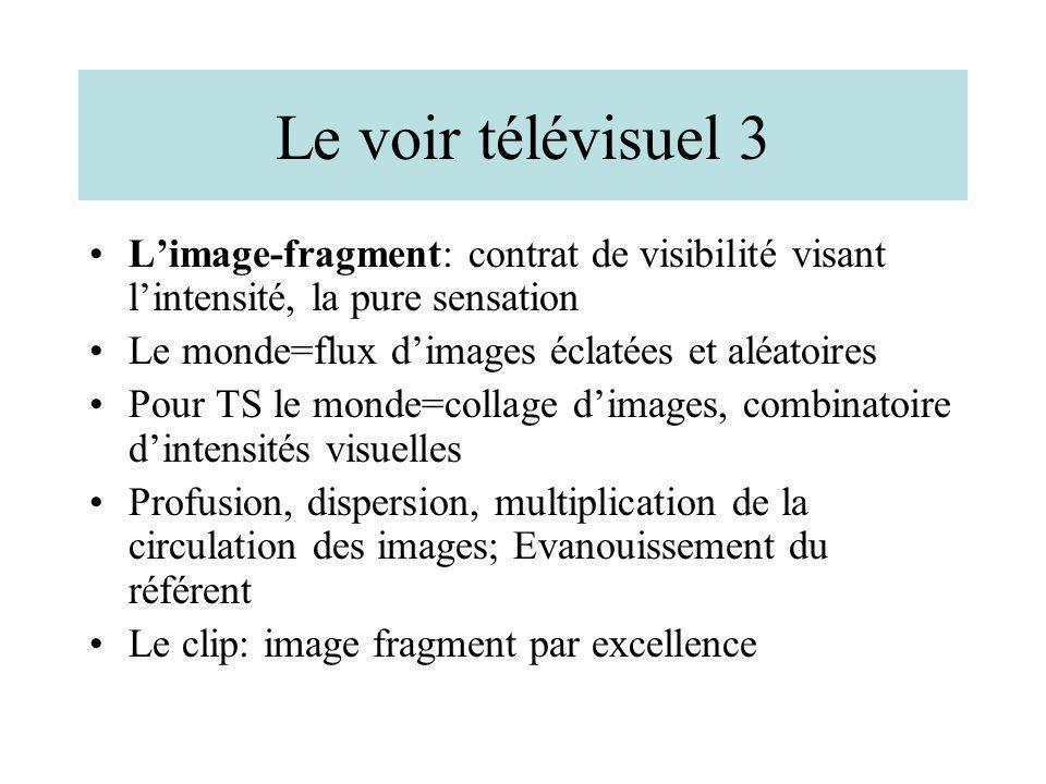 Le voir télévisuel 3 Limage-fragment: contrat de visibilité visant lintensité, la pure sensation Le monde=flux dimages éclatées et aléatoires Pour TS