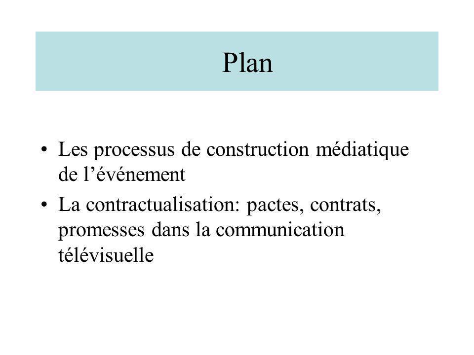 Plan Les processus de construction médiatique de lévénement La contractualisation: pactes, contrats, promesses dans la communication télévisuelle