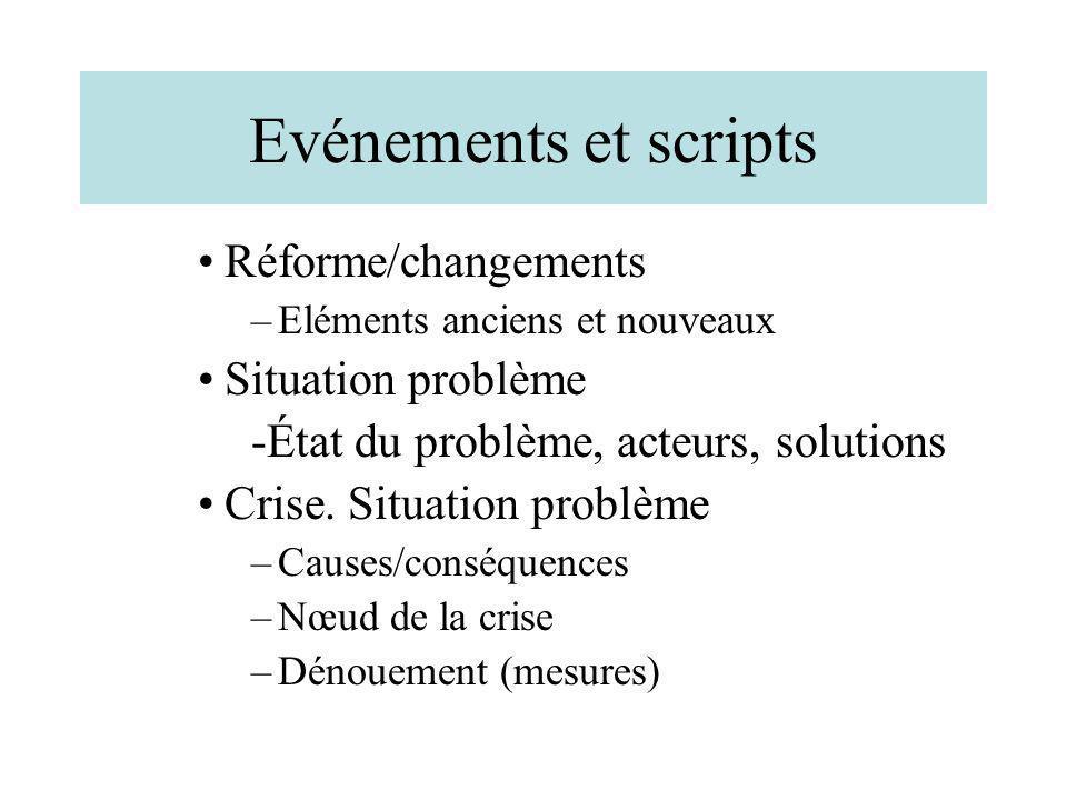 Evénements et scripts Réforme/changements –Eléments anciens et nouveaux Situation problème -État du problème, acteurs, solutions Crise. Situation prob