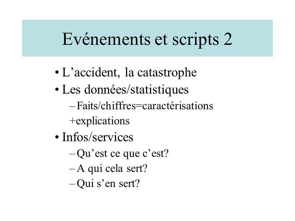 Evénements et scripts 2 Laccident, la catastrophe Les données/statistiques –Faits/chiffres=caractérisations +explications Infos/services –Quest ce que