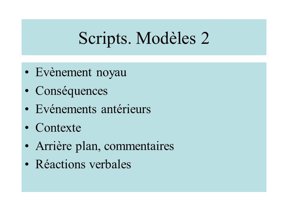 Scripts. Modèles 2 Evènement noyau Conséquences Evénements antérieurs Contexte Arrière plan, commentaires Réactions verbales