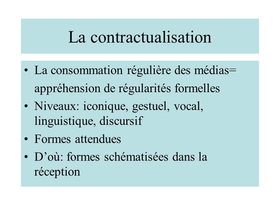 La contractualisation La consommation régulière des médias= appréhension de régularités formelles Niveaux: iconique, gestuel, vocal, linguistique, dis