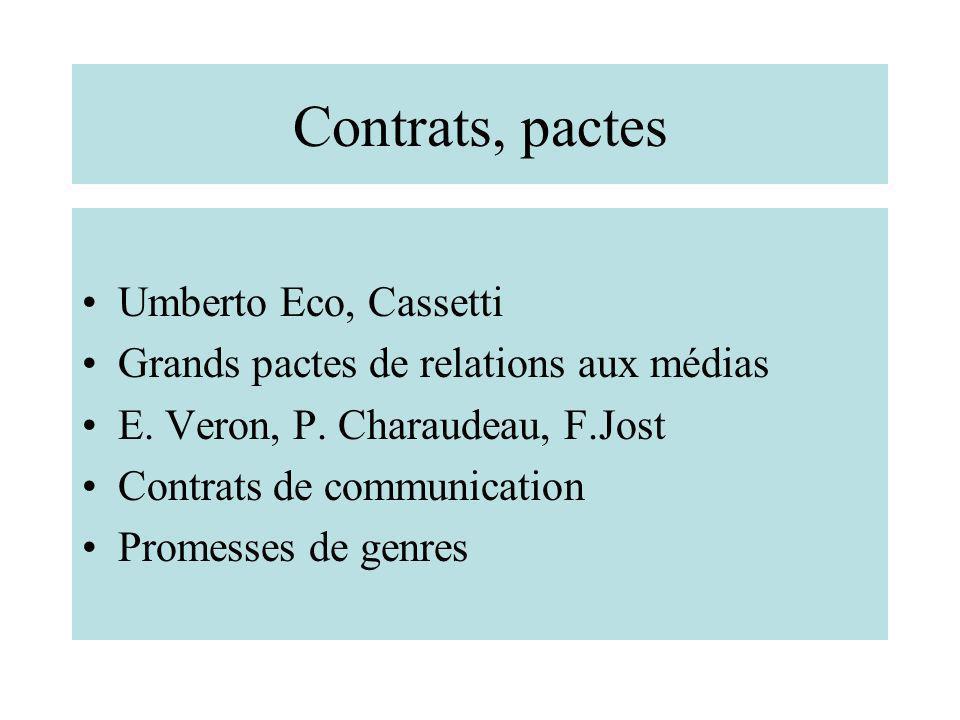 Contrats, pactes Umberto Eco, Cassetti Grands pactes de relations aux médias E. Veron, P. Charaudeau, F.Jost Contrats de communication Promesses de ge