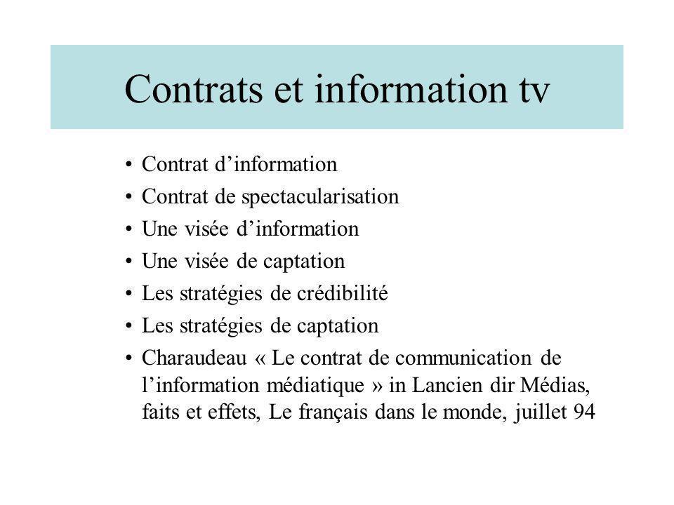 Contrats et information tv Contrat dinformation Contrat de spectacularisation Une visée dinformation Une visée de captation Les stratégies de crédibil