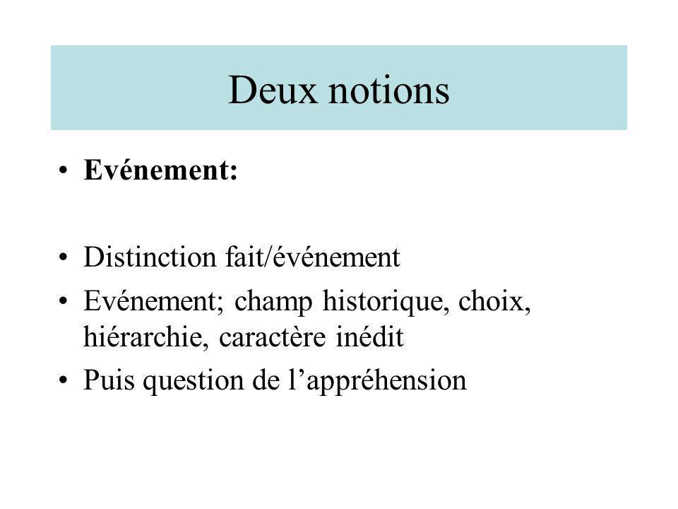 Deux notions Evénement: Distinction fait/événement Evénement; champ historique, choix, hiérarchie, caractère inédit Puis question de lappréhension
